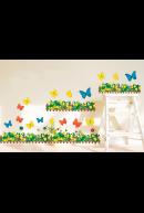 Наклейка. Забор с бабочками